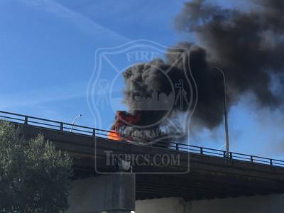 October 8, 2015 - Vehicle Rollover + Fire - Gardiner Expressway Westbound near DVP