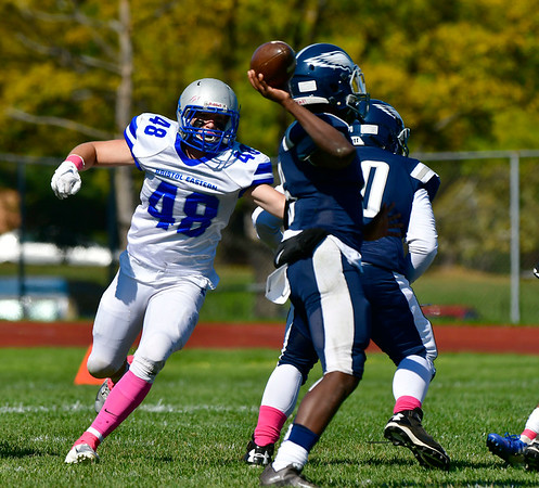 10/5/2019 Mike Orazzi | StaffrBristol Eastern's Logan Meyer (48) during Saturday's football game with Hartford Public in Hartford.