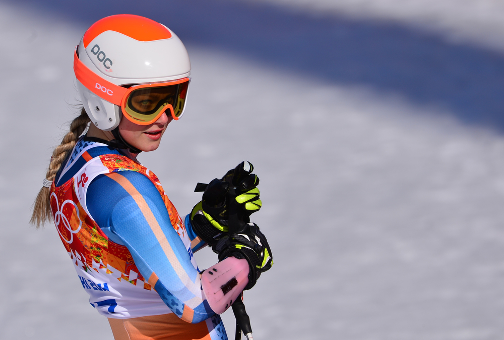 . Norway\'s Ragnhild Mowinckel reacts after the Women\'s Alpine Skiing Super-G at the Rosa Khutor Alpine Center during the Sochi Winter Olympics on February 15, 2014.         (DIMITAR DILKOFF/AFP/Getty Images)