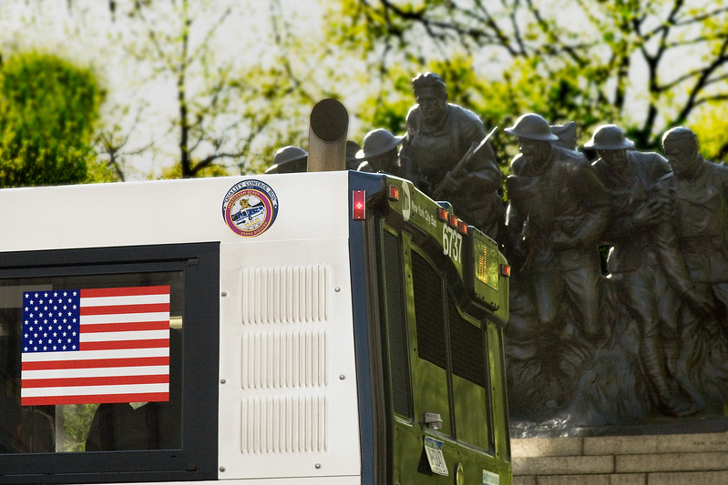 War Memorial and Bus Flag