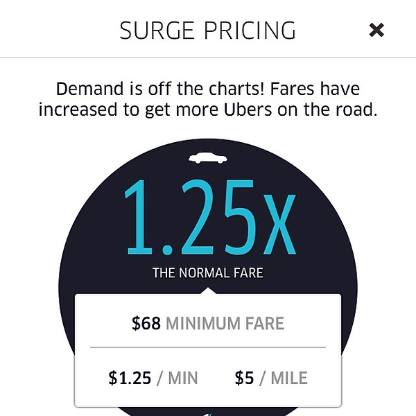 At $68 to go 1.5 miles I'm gonna drive down to Austin next year and work for @Uber. #ridiculous #pricegouging #bs