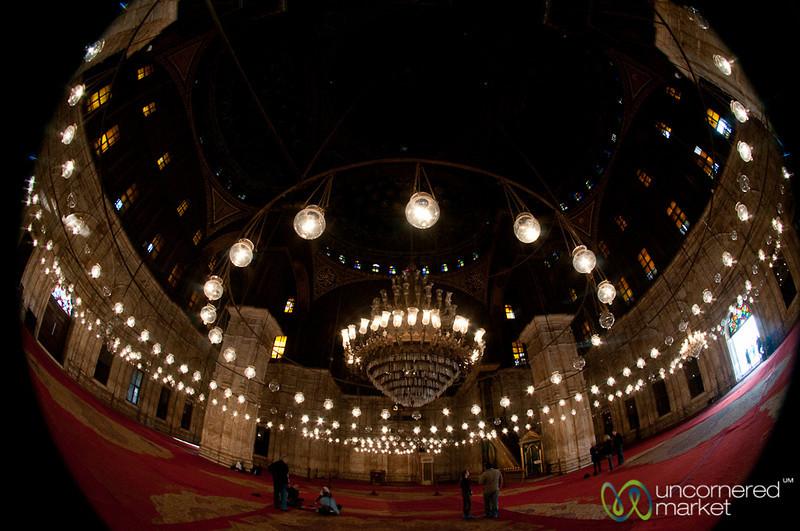 Fisheye View Inside Mosque of Muhammad Ali - Cairo, Egypt