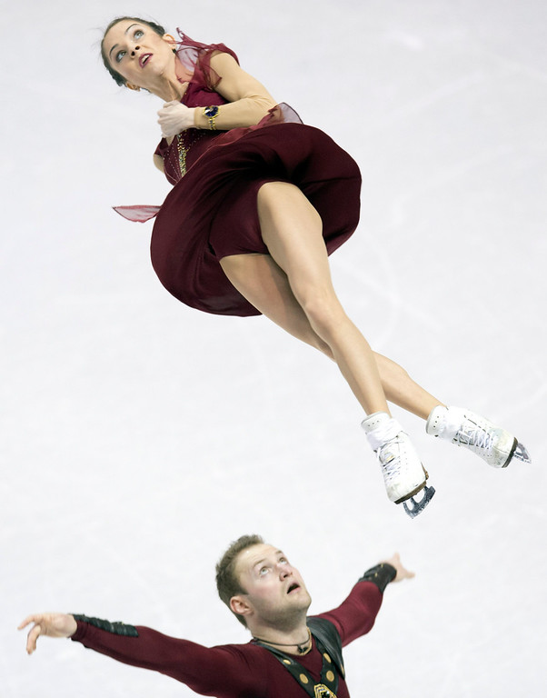 . Vera Bazarova and Yuri Larionov of Russia, perform their free skate program in the pairs competition at the World Figure Skating Championships Friday, March 15, 2013 in London, Ontario. (AP Photo/The Canadian Press, Frank Gunn)
