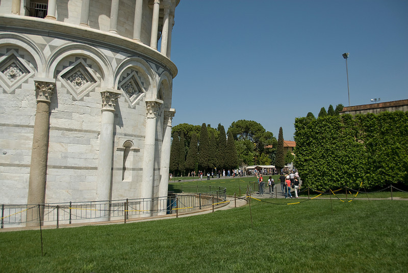 The cordoned section at the base of the Leaning Tower of Pisa - Italy