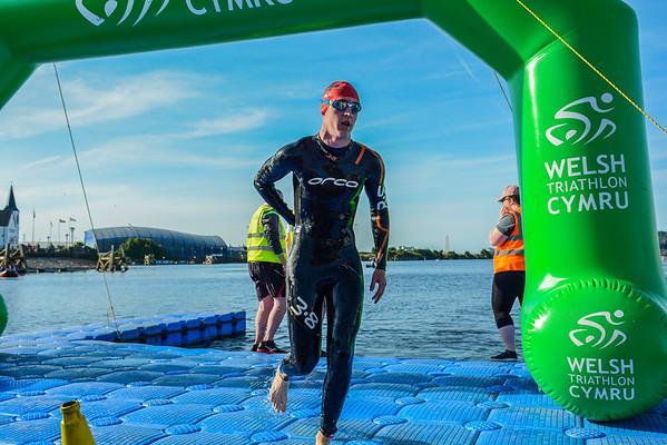 Cardiff Triathlon - Sprint Swim Exit - Red Hats