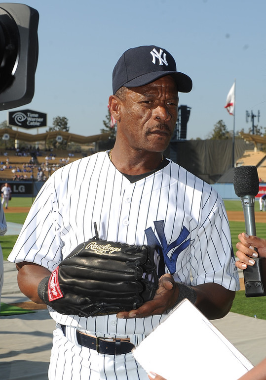 . New York Yankees Ricky Henderson during the Old-Timers game prior to a baseball game between the Atlanta Braves and the Los Angeles Dodgers on Saturday, June 8, 2013 in Los Angeles. 