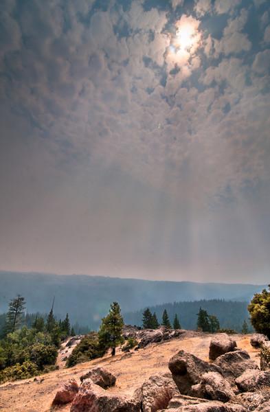 Smokebeams Rim Fire Near Yosemite