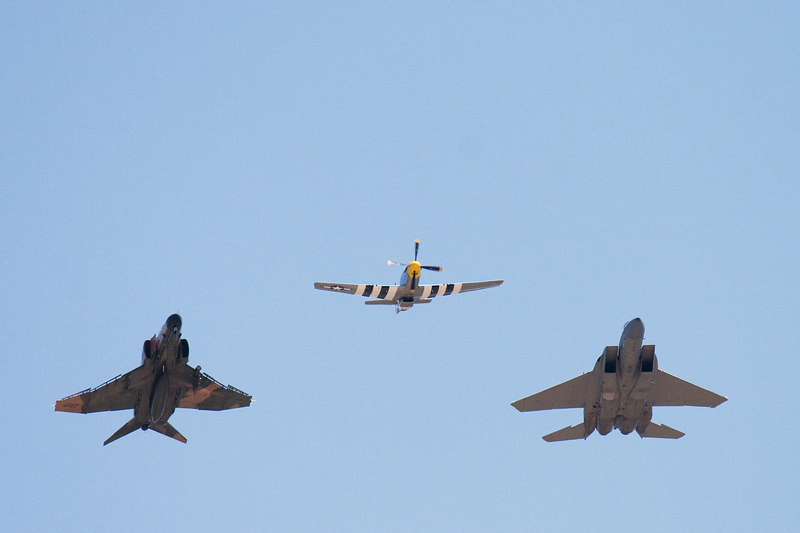 Heritage fly-by: F-4, P-51, F-15