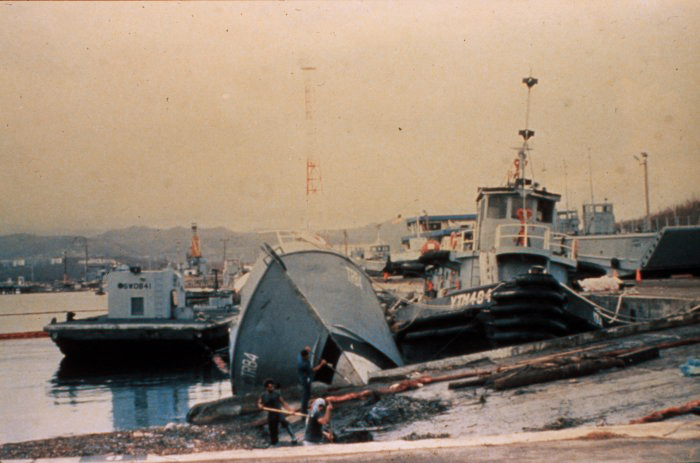 . Damage to small vessels at Roosevelt Roads Naval Base in Puerto Rico caused by Hurricane Hugo, Late September, 1989. Donald Wernly, NOAA. NOAA\'s National Weather Service (NWS) Collection
