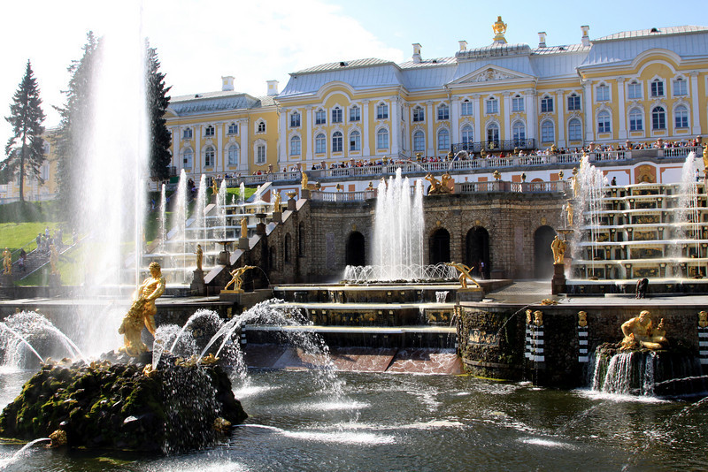 Petrodvorets (or Peterhof) Palace - the Grand Cascade fountains in front of the Grand Palace.  On the left is the Samson Fountain which depicts the moment when Samson tears open the jaws of a lion, representing Russia's victory over Sweden in the Great Northern War. The lion is an element of the Swedish coat of arms, and one of the great victories of the war was won on St Samson's Day. From the lion's mouth shoots a 20-metre-high vertical jet of water, the highest in all of Peterhof.