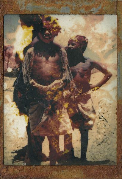 Boys, encaustic on altered photo, 5x7