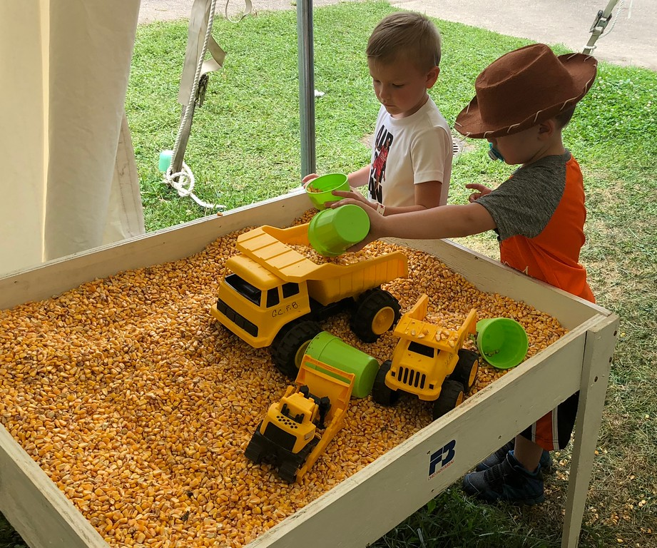 . Tawana Roberts � The News-Herald <br> Jace Earl, 4, and Damiano Williams, 2, enjoys an exhibit presented by the Ohio Farm Bureau at the 2018 Lake County Fair on July 26.
