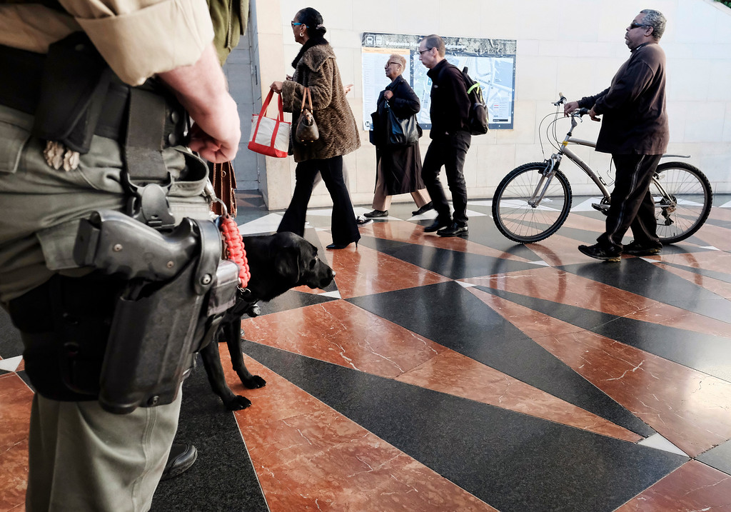 . Clyde, a K-9 deputy with the Los Angeles County sheriff\'s department monitors a passageway as railroad travelers and commuters make their way through Union Station in downtown Los Angeles on Wednesday, Nov. 23, 2016. As tens of millions of Americans take to the roads, airports and railways for the Thanksgiving holiday, many are hoping to take a break from the rancor and division of the presidential election and focus instead on family and tradition. (AP Photo/Richard Vogel)