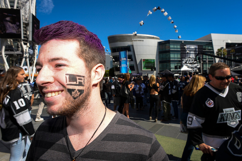 . Addison Maye-Saxon of Simi Valley supports his Kings team with a temporary tattoo outside of Staples Center before the start of Game 1 of the Stanley Cup Finals.   ( Photo by David Crane/Los Angeles Daily News )