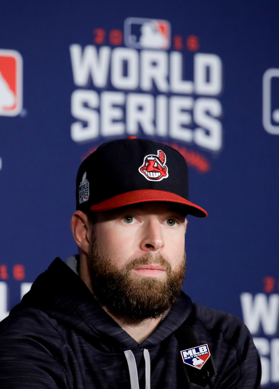 . Cleveland Indians starting pitcher Corey Kluber talks during a news conference before Game 6 of the Major League Baseball World Series against the Chicago Cubs Tuesday, Nov. 1, 2016, in Cleveland. (AP Photo/Gene J. Puskar)