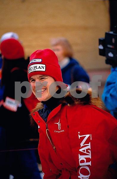 Susan Butcher, Iditarod sled dog racer, in Anchorage, Alaska, in March 1990.