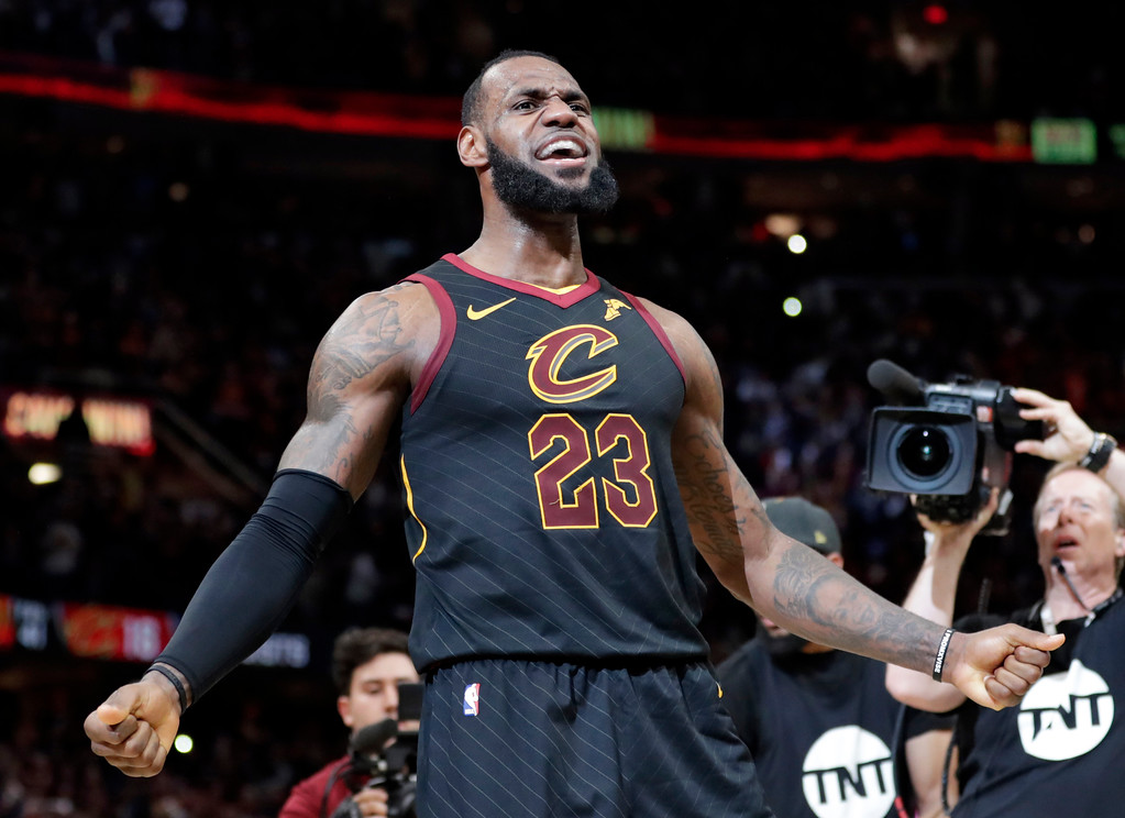 . Cleveland Cavaliers\' LeBron James reacts after making the game-winning shot in the second half of Game 5 of an NBA basketball first-round playoff series against the Indiana Pacers, Wednesday, April 25, 2018, in Cleveland. The Cavaliers won 98-95. (AP Photo/Tony Dejak)