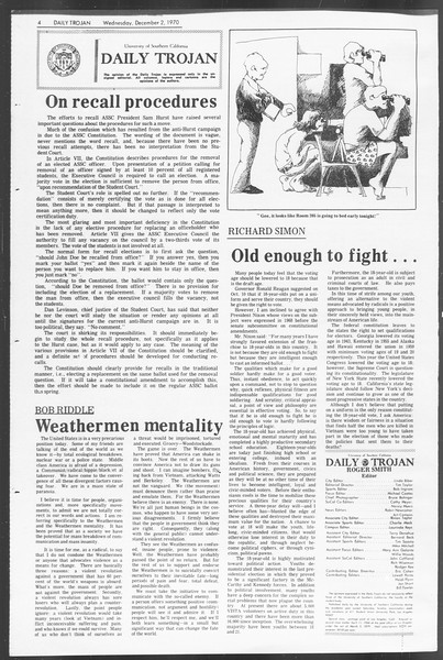 Daily Trojan, Vol. 62, No. 46, December 02, 1970