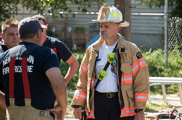 09/25/19 Wesley Bunnell | Staff A fire on the first floor of 24 Oak St was quickly knocked down by firefighters on Wednesday afternoon. Deputy Chief Paul Walsh, R.