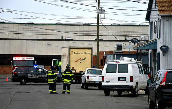 2/27/2019 Mike Orazzi | Staff Bristol firefighters on scene after a truck took down some wires on Lois Street in Bristol Wednesday afternoon.