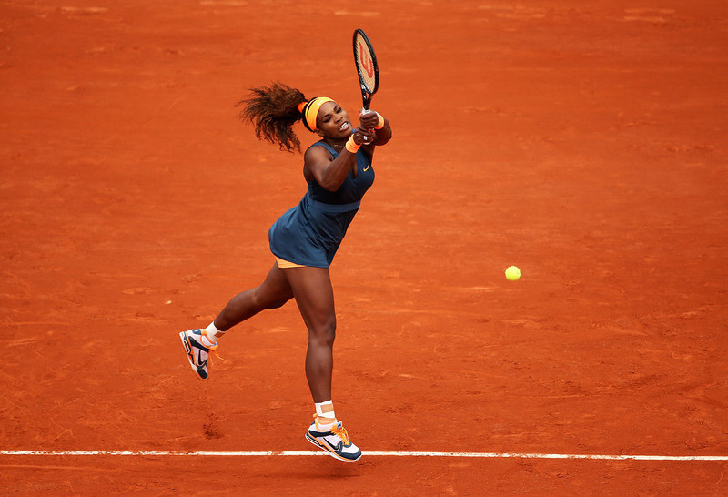 . Serena Williams of the United States of America plays a backhand in her Women\'s Singles match against Anna Tatishvili of Georgia during day one of the French Open at Roland Garros on May 26, 2013 in Paris, France.  (Photo by Clive Brunskill/Getty Images)