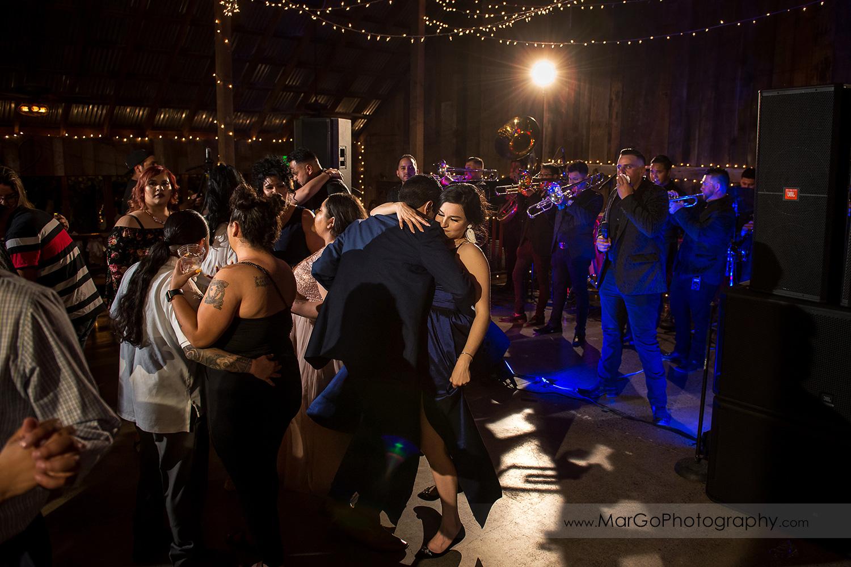 dance floor during wedding reception at Taber Ranch Vineyards