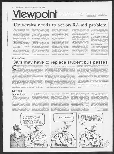 Daily Trojan, Vol. 100, No. 7, September 11, 1985