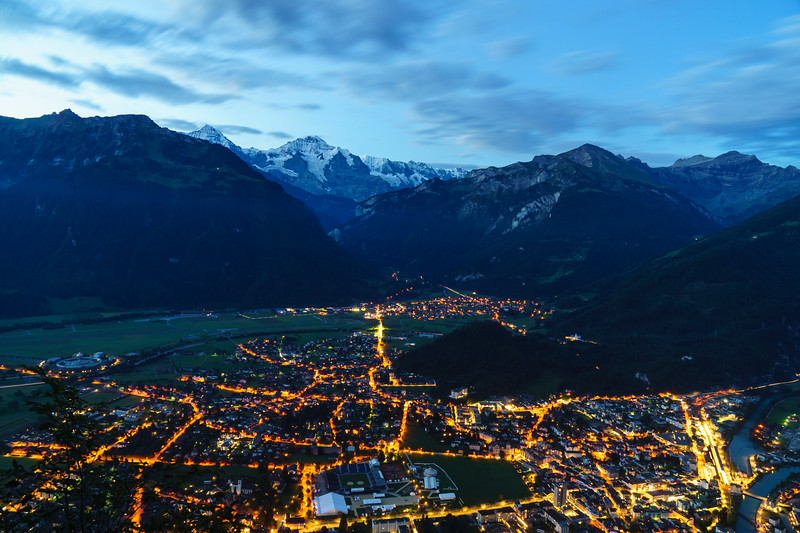 Sunrise over Interlaken, Switzerland and the Jungfrau group.