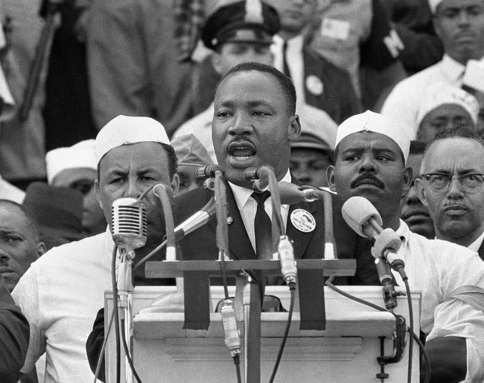 ". In this Aug. 28, 1963, black-and-white file photo Dr. Martin Luther King Jr., head of the Southern Christian Leadership Conference, addresses marchers during his ""I Have a Dream\"" speech at the Lincoln Memorial in Washington.  (AP Photo/File)"