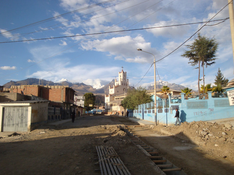 After working me to the bone giving talks all week, UPA very kindly put me onto a bus and sent me to a town called Huarez - gateway to the Andes. Note the condition of the street - normal for Huaraz and, seemingly, much of Peru. I was being seriously pampered in Miraflores.