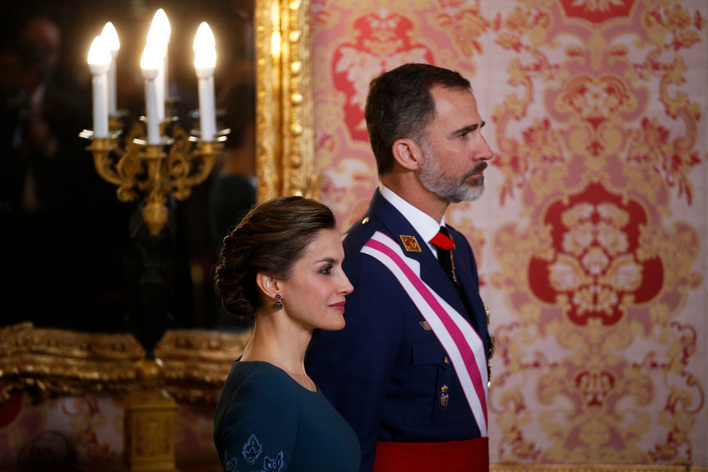 . Spain\'s King Felipe VI and his wife Queen Letizia attend the Epiphany Day celebrations at the Royal Palace in Madrid, Spain, Friday, Jan. 6, 2017. (Juan Medina/Pool via AP)