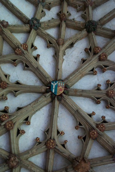 The ceilings of the cloisters are decorated with crests and other carvings. You can see faces - supposedly these are the wives of some of the patrons.