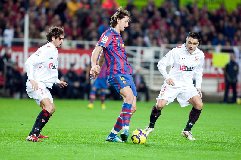 Ibrahimovic between Escude and Duscher. Spanish Cup game between Sevilla FC and FC Barcelona, Ramon Sanchez Pizjuan stadium, Seville, Spain, 13 January 2010