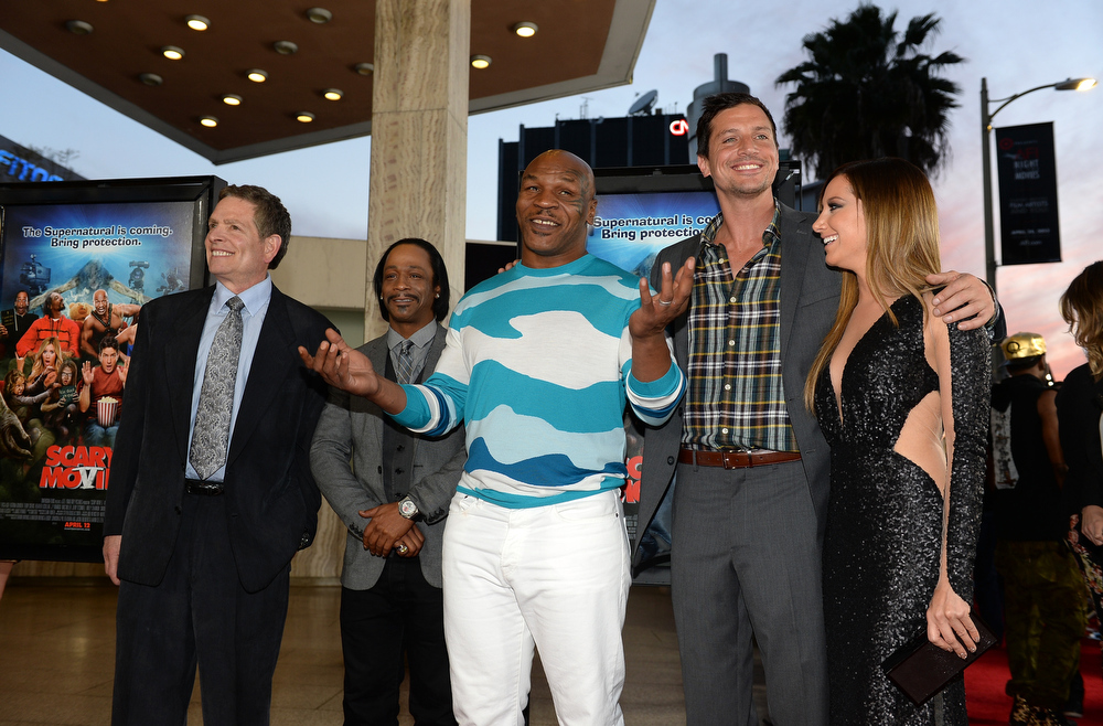 """. Producer David Zucker, actor Katt Williams, former professional boxer Mike Tyson actors Simon Rex, and Ashley Tisdale arrive for the premiere of Dimension Films\' \""""Scary Movie 5\"""" at ArcLight Cinemas Cinerama Dome on April 11, 2013 in Hollywood, California.  (Photo by Michael Buckner/Getty Images)"""