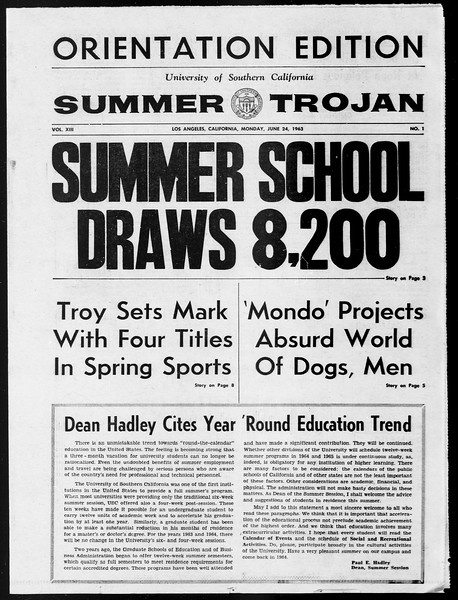 Summer Trojan, Vol. 13, No. 1, June 24, 1963