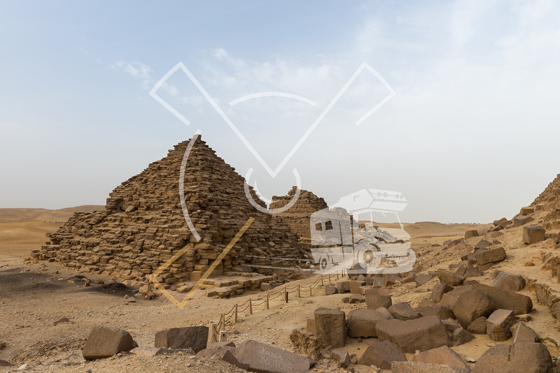 The Queens Pyramids of Menkaure, three small queens pyramids are situated to the south side of the pyramid and, like the other repositories, they  were  never  finished.  It  has  been  advised  that  the  biggest and Nearly complete of  these belonged to Menkaure's important wife Khamerenebti II.