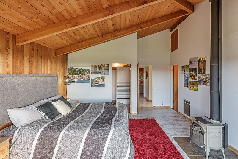 Master Bedroom with Walk in Closet & Wood Stove