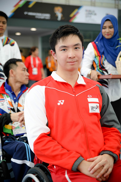 PARA SWIMMING - WEI SOONG TOH going for the victory ceremony (gold medal) representing Singapore in Men's 100 LC Meter Freestyle S7  Finals at Aquatics Centre, KL on September 18th, 2017 (Photo by Sanketa Anand)