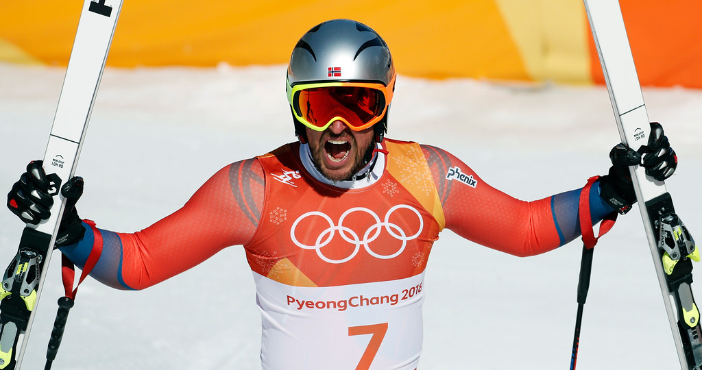 . Norway\'s Aksel Lund Svindal reacts in the finish area of the men\'s downhill at the 2018 Winter Olympics in Jeongseon, South Korea, Thursday, Feb. 15, 2018. (AP Photo/Christophe Ena)