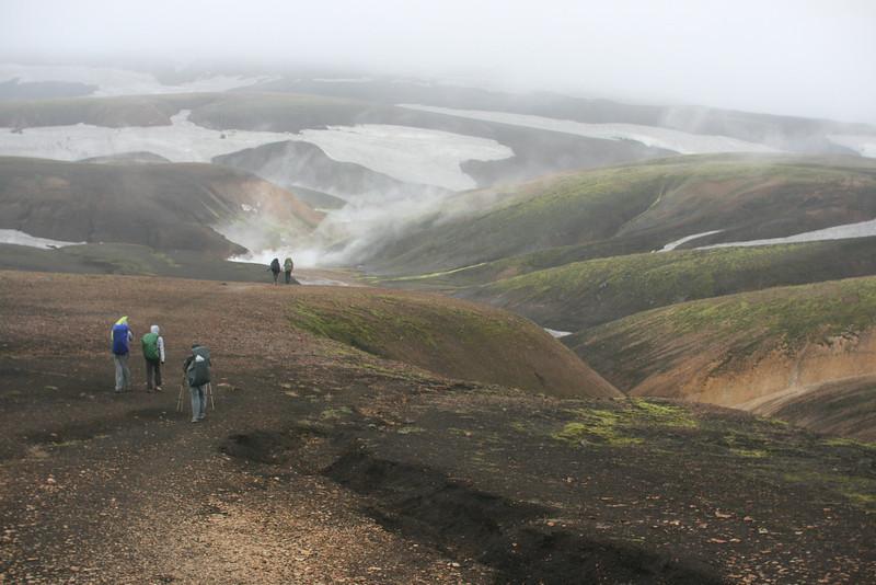 Hiking by steam vents near Landmannalaugar.