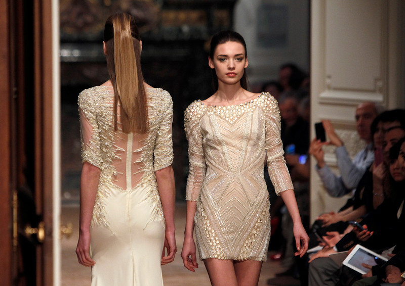 . Models wear creations for Tony Ward\'s Spring-Summer 2014 Haute Couture fashion collection presented in Paris, Monday, Jan.20, 2014. (AP Photo/Thibault Camus)