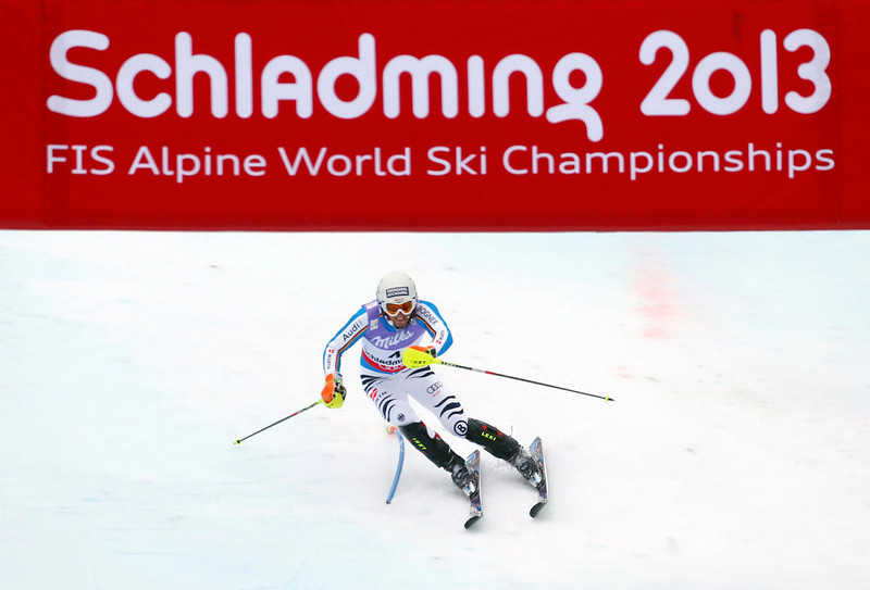. Fritz Dopfer of Germany skis during the second run of the men\'s Slalom race at the World Alpine Skiing Championships in Schladming February 17, 2013. REUTERS/Dominic Ebenbichler