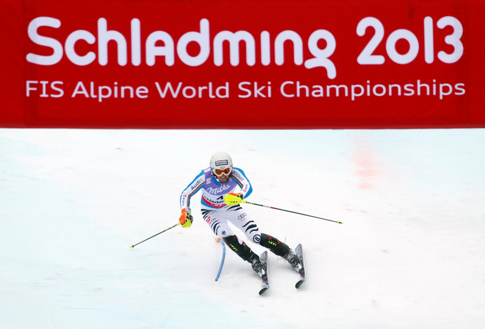 Description of . Fritz Dopfer of Germany skis during the second run of the men\'s Slalom race at the World Alpine Skiing Championships in Schladming February 17, 2013. REUTERS/Dominic Ebenbichler