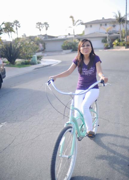 Tu on an afternoon bike ride through La Jolla