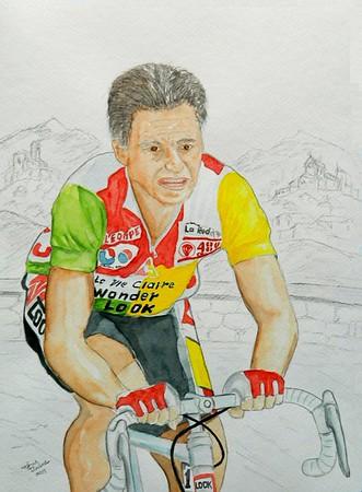Bernard Hinault, 1986 Tour de France, 11x15, watercolor & graphite pencil, aug 25, 2015.
