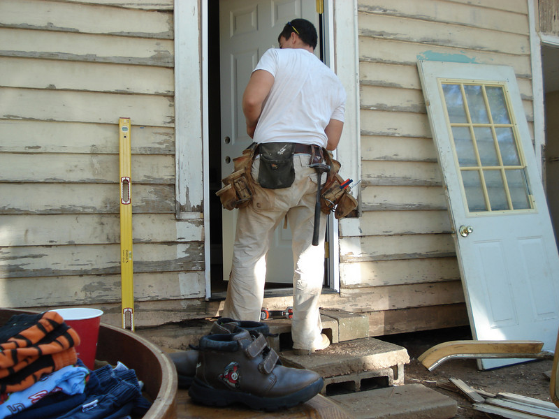 Seth installs new side door. ck