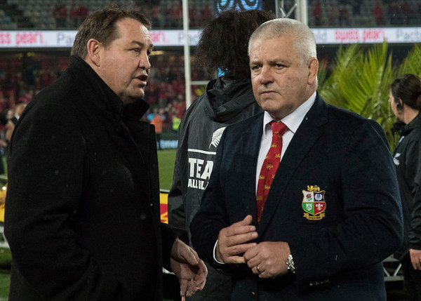 Steve Hansen & Warren Gatland during game 10 of the British and Irish Lions 2017 Tour of New Zealand, the third Test match between  The All Blacks and British and Irish Lions, Eden Park, Auckland, Saturday 8th July 2017 (Photo by Kevin Booth Steve Haag Sports)  Images for social media must have consent from Steve Haag