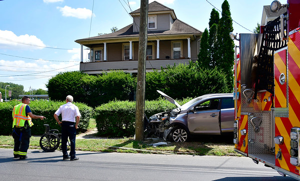 8/15/2019 Mike Orazzi | StaffThe scene of a one-vehicle crash involving KIA SUV, a utility pole and a man in a wheelchair knocking out power to some on Foley Street Thursday afternoon. The pedestrian in the wheelchair was transported from the scene with non-threatening injuries.