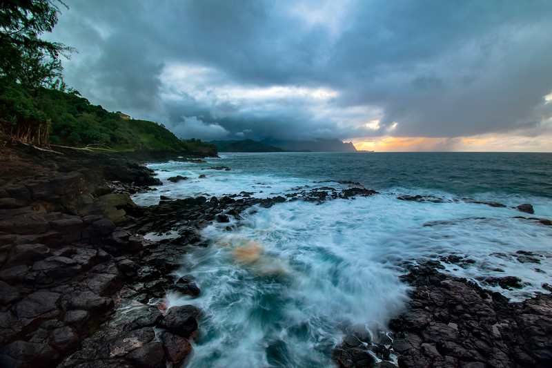 Stormy day in Princeville shore, Kauai, Hawaii