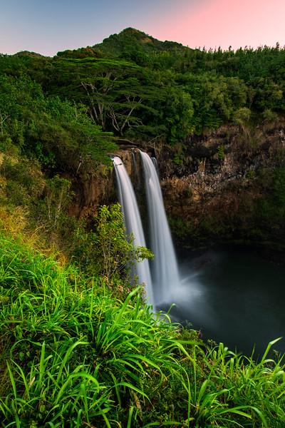Wailua Falls before sunrise, Kauai, Hawaii